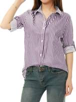 Allegra K Women Vertical Stripes Button Down Long Roll Up Sleeves Shirt