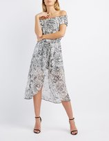 Charlotte Russe Paisley Off-The-Shoulder Maxi Romper