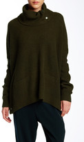 Vince Oversize Snap Detail Twill Turtleneck Wool Blend Sweater