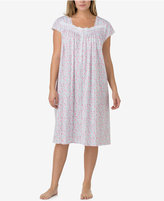 Eileen West Plus Size Lace-Trimmed Printed Waltz-Length Nightgown
