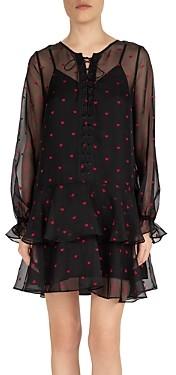 The Kooples Tiny Hearts Lace-Up Dress