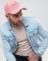 Asos Baseball Cap In Pink Cord With Embroidery