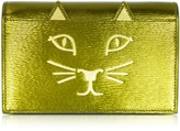 Charlotte Olympia Feline Metallic Leather Purse