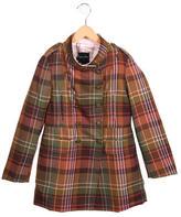 Oscar de la Renta Girls' Wool Plaid Coat w/ Tags