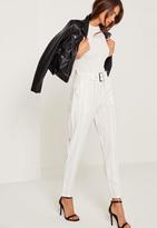 Missguided Pinstripe Cigarette Trousers White
