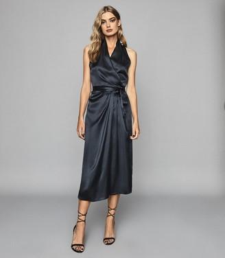 Reiss MOA Silk Blend Wrap Midi Dress Navy