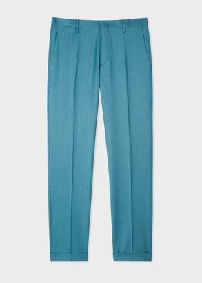 Men's Slim-Fit Teal Wool-Cashmere Trousers