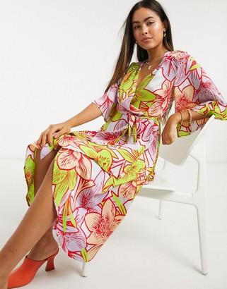 Liquorish midi wrap dress in bright tropical