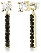 Jessica Simpson Antique Gold/Jet Crystal Petite Rectangle and Circle Stud Earrings