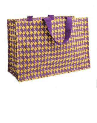 Deck The Halls Houndstooth Jute Totes