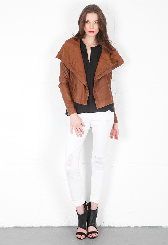 Veda Max Convertible Leather Jacket in Desert