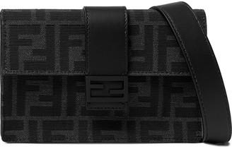 Fendi Baguette Leather-Trimmed Logo-Jacquard Messenger Bag - Men - Black