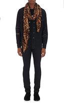 Saint Laurent Men's Tiger-Stripe Wool Gauze Scarf-BLACK
