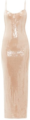 Galvan Plunge-back Sequinned Maxi Dress - Womens - Nude