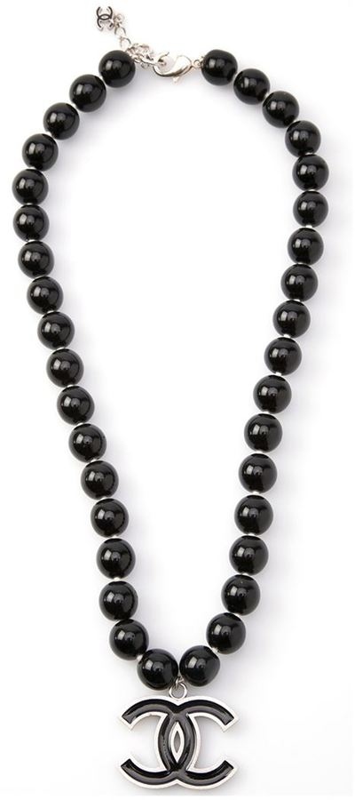 Chanel black pearl necklace