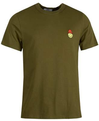 Ami Patch Smiley Crew Neck T-shirt Colour: OLIVE, Size: SMALL