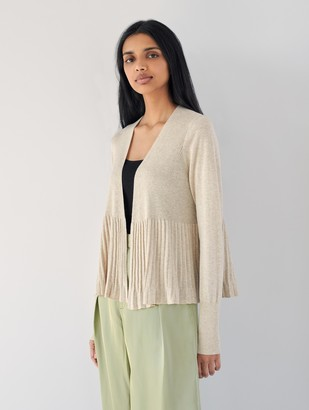 White + Warren Cotton Pleated Open Cardigan