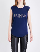 Balmain Button-detailed logo-print cotton-jersey T-shirt