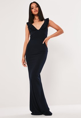 Missguided Navy Frill Strap Tie Back Maxi Dress