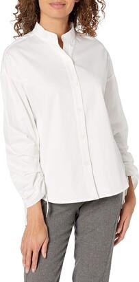 b new york Women's Conscious Pleat Sleeve Button Down Shirt