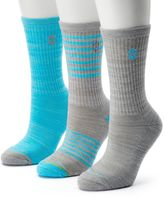 Free Country Women's 3-pk. Striped Wool-Blend Crew Socks