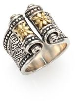Konstantino Penelope 18K Yellow Gold & Sterling Silver Etched Scroll Ring