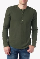 7 For All Mankind Long Sleeve Thermal Henley In Olive