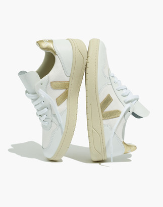 Madewell Veja V-10 Lace-Up Sneakers in White with Gold Accents