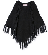 Pink Angel Black Fringe Poncho - Infant