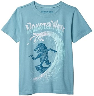 Life is Good Monster Wave Crusher Tee (Little Kids/Big Kids) (Harbor Blue) Boy's Clothing