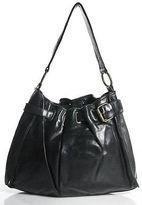 Kooba Black Leather Embellished Gold Tone Oversized Bucket Hobo Bag Medium