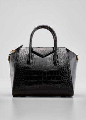 Givenchy Antigona Small Croc-Embossed Leather Satchel Bag