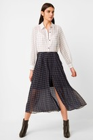 French Connection Ayn Drape Belted Mixed Check Shirt Dress