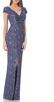 JS Collections Cross-Front Jacquard Gown