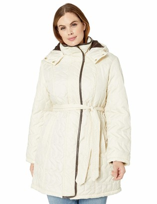 Big Chill Women's Belted Zig-Zag Quilted Coat