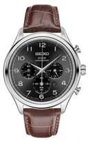 Seiko Round Leather Strap Chronograph Watch