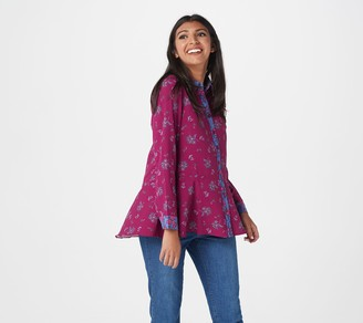 Isaac Mizrahi Live! Stretch Woven Floral Printed Button Front Blouse