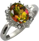 Gem Stone King 2.32 Ct Oval Mango Mystic Topaz and White Topaz Sterling Silver Ring
