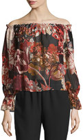 Elizabeth and James Remi Printed Silk Off-the-Shoulder Top, Multicolor