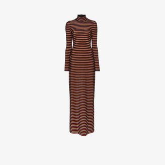 Rosetta Getty Stripe Turtleneck Maxi Dress