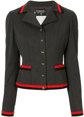 Chanel Pre Owned 1994 Contrasting Stripes Fitted Blazer