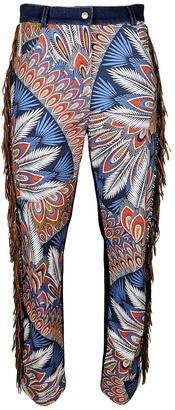 Lalipop Design High Waisted Lycra Cotton Printed Pants With Washed Denim Back