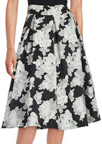 Eliza J Floral Crepe Midi Skirt