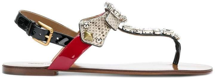 Dolce & Gabbana embellished snake embossed thong sandals