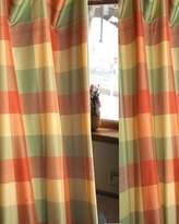 "BU Coral Checkered Faux Silk Taffeta Lined Rod Pocketed Window Curtain Panel Drape (52""W X 108""L)"