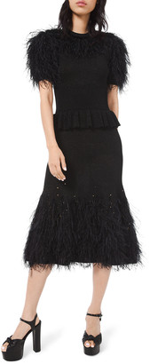 Michael Kors Feather-Trim Knit Cocktail Dress