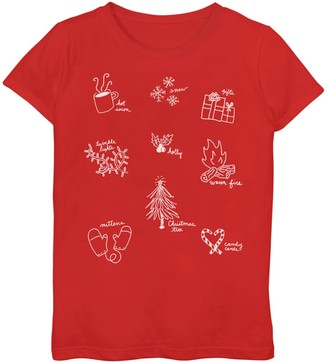 Icons Unbranded Girls 7-16 Holiday Graphic Tee