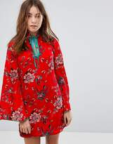 Glamorous Long Sleeve Shift Dress With High Collar In Romantic Floral