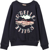 Scotch R'Belle Navy Car and Beaded Applique Sweatshirt