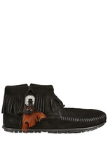 Minnetonka 20mm Fringed Suede Ankle Boots